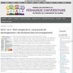 Vol.5 - no 1 - Tenir compte de la « zone proche de développement » des étudiants dans son enseignement