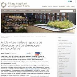 Article - Les meilleurs rapports de développement durable reposent sur la confiance