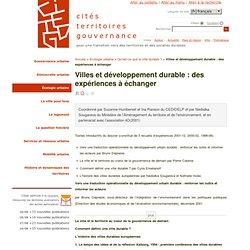 Villes et développement durable : des expériences à échanger - citésterritoiresgouvernance