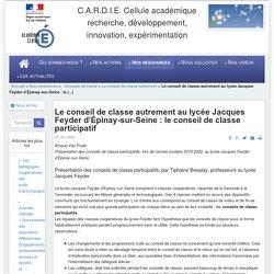 Le conseil de classe autrement au lycée Jacques Feyder d'Épinay-sur-Seine : le conseil de classe participatif