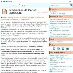 Témoignage de Marine BOULOGNE - Centre Académique Recherche- Développement, Innovation et Expérimentation