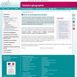 Villes et développement durable - Histoire-géographie