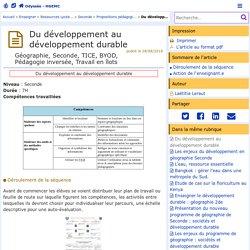 Du développement au développement durable- Odyssée: Histoire Géographie Éducation civique