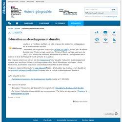 Éducation au développement durable-Histoire-géographie-Éduscol