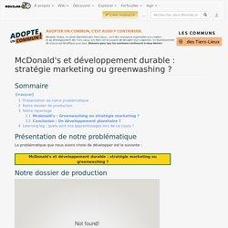 McDonald's et développement durable : stratégie marketing ou greenwashing ?