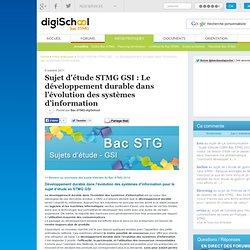 Développement durable et évolution des systèmes d'information - Sujet d'étude STG GSI