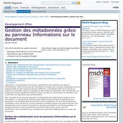 Développement Office: Gestion des métadonnées grâce au panneau Informations sur le document
