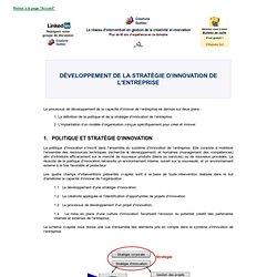 LE DÉVELOPPEMENT D'UNE POLITIQUE ET D'UNE STRATÉGIE D'INNOVATION