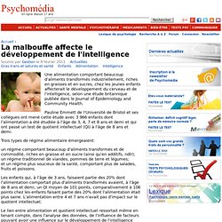 La malbouffe affecte le développement de l'intelligence