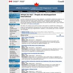 Afrique du Sud – Projets de développement international – Banque de projets de développement international – Affaires étrangères, Commerce et Développement Canada (MAECD)