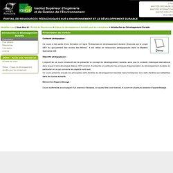 Introduction au Développement Durable (cours)