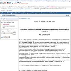 LOI no 96-603 du 5 juillet 1996 relative au développement et à la promotion du commerce et de l'artisanat