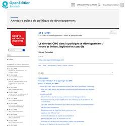 Le rôle des ONG dans la politique de développement: forces et limites, légitimité et contrôle