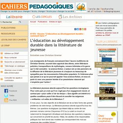 L'éducation au développement durable dans la littérature de jeunesse