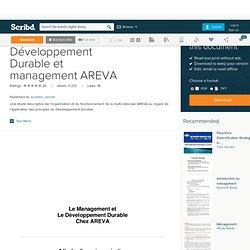 Mémoire Développement Durable et management AREVA