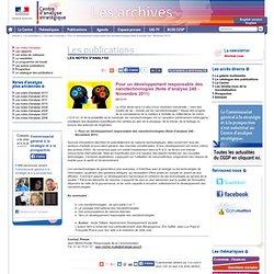 CENTRE D ANALYSE STRATEGIQUE 08/11/11 Pour un développement responsable des nanotechnologies (Note d'analyse 248 - Novembre 2011