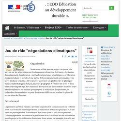 """Jeu de rôle """"négociations climatiques"""" - EDD CRETEIL"""