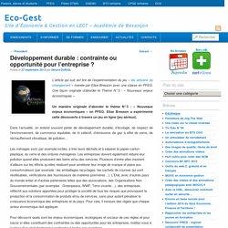 Développement durable : contrainte ou opportunité pour l'entreprise ?