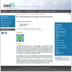 DU : Développement durable et organisations