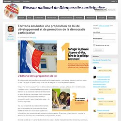 Ecrivons ensemble une proposition de loi de développement et de promotion de la démocratie participative