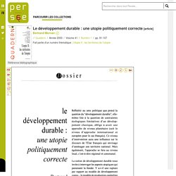Le développement durable : une utopie politiquement correcte