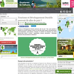 Tourisme et Développement Durable peuvent-ils aller de pair ? diaporama Florie Thielin