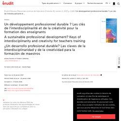 Un développement professionnel durable? Les clés… – Revue des sciences de l'éducation
