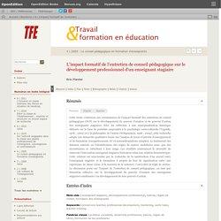 L'impact formatif de l'entretien de conseil pédagogique sur le développement professionnel d'un enseignant stagiaire