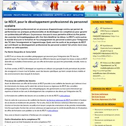 Le RÉCIT, pour le développement professionnel du personnel scolaire