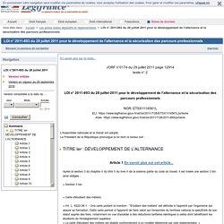 LOI n° 2011-893 du 28 juillet 2011 pour le développement de l'alternance et la sécurisation des parcours professionnels