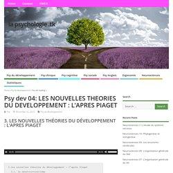 Psy dev 04: LES NOUVELLES THEORIES DU DEVELOPPEMENT : L'APRES PIAGET – la psychologie .tk