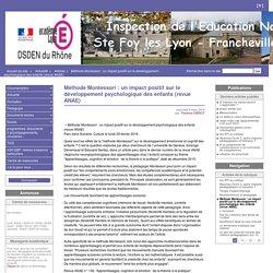 Méthode Montessori : un impact positif sur le développement psychologique des enfants (revue ANAE) - Inspection Éducation Nationale - Ste Foy les Lyon - Lyon 5° - Francheville