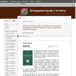 Yvette Lazzeri (dir.), 2006, Les indicateurs territoriaux de développement durable. Questionnements et expériences, L'Harmattan, 323p.