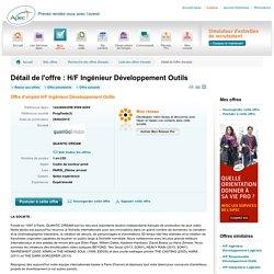 H/F Ingénieur Développement Outils - Offre d'emploi H/F Ingénieur Développement Outils - Apec, recrutement et offres d'emploi cadres