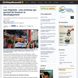 Afrique renouveau / ONU, Les migrants : une richesse qui permet de financer le développement