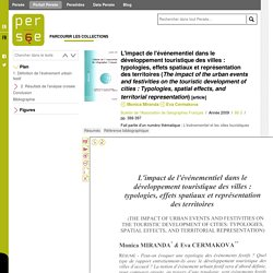 L'impact de l'événementiel dans le développement touristique des villes : typologies, effets spatiaux et représentation des territoires (The impact of the urban events and festivities on the touristic development of cities : Typologies, spatial effects, a