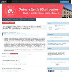 Développement durable, postures et responsabilité sociale des chercheurs en éducation