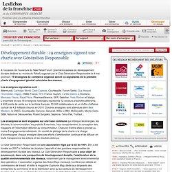 Développement durable : 17 enseignes signent une charte avec Génération Responsable