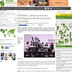 TOP RESA – Retour sur le forum Développement durable & Tourisme responsable