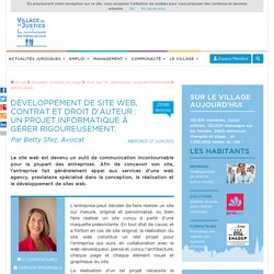 Développement de site web, contrat et droit d'auteur : un projet informatique à gérer rigoureusement. Par Betty Sfez, Avocat