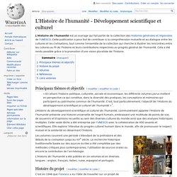L'Histoire de l'humanité - Développement scientifique et culturel