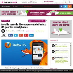 Mozilla cesse le développement de Firefox OS pour les smartphones