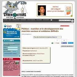 pétition maintien et le développement des marchés sociaux et solidaires BiffinEs