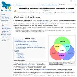 Développement soutenable (dit durable)