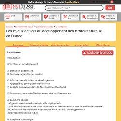 Les enjeux actuels du développement des territoires ruraux en France