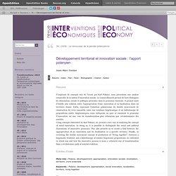 Développement territorial et innovation sociale: l'apport polanyien