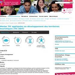 Master TIC appliquées au développement des territoires touristiques (TIC ADIT)