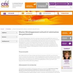 Master Développement culturel et valorisation des patrimoines - Formations - CFA SACEF