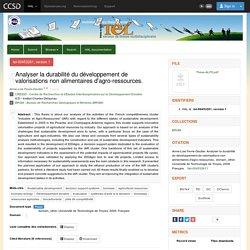 UNIVERSITE DE TECHNOLOGIE DE TROYES 03/02/09 Thèse en ligne : Analyser la durabilité du développement de valorisations non alimentaires d'agro-ressources
