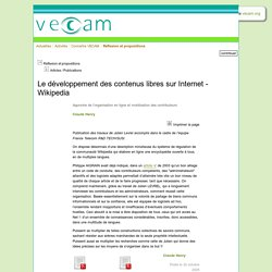 Le développement des contenus libres sur Internet - Wikipedia